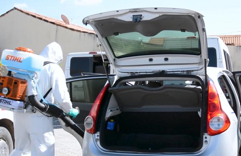 Vans e táxis são higienizados e motoristas passam por teste rápido de Covid-19 - Divulgação/PMIG
