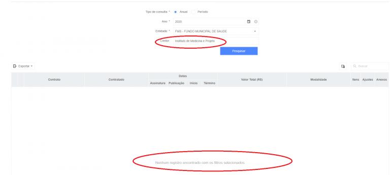 Quem acessa o Portal da Transparência buscando pelos dois contratos firmados com a OS IMP não encontra nenhum